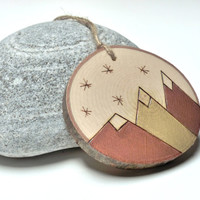 Geometric Mountain, Rustic Wood Ornament, Primitive Decor, Maple Wood Slice, Mountain Art, Copper Ornament, Joy Sign, Rustic Home Decor