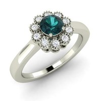 Blue Diamond & Diamond Ring in 14k White Gold | 0.57 ct. tw. | Round Cut | Ballard | Diamondere