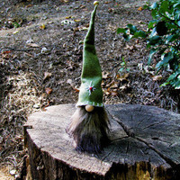 Swedish Tomte Green Hat Brown Beard Hand Made / Scandinavian Christmas Gnome