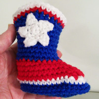 Baby Cowboy Booties--Houston Texsans Crochet-Baby Shower gift--#168