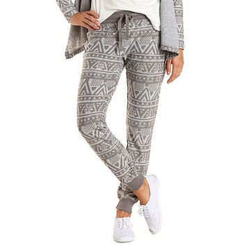 Tribal Print Jogger Sweatpants by Charlotte Russe - Gray Combo