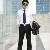 Men Black Suit Cotton Pants M/L/XL@dat258