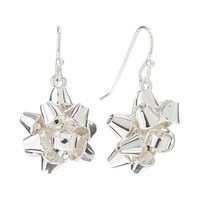 Silver Tone Christmas Bow Drop Earrings (Grey)