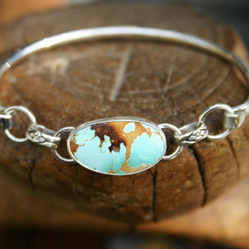 Turquoise bangle bracelet. Royston turquoise bangle bracelet with sterling silver. Handmade American turquoise bangle. OOAK, modern, unique.