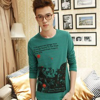 Long Sleeve Green Fantastic World Cotton Men T-shirt M/L/XL@dat0153green