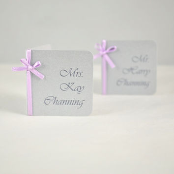 Silver Formal Place Card -  Silver Formal Escort Card - Wedding Place Name Card -  Silver Wedding Place Card