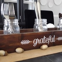 Rustic Thanksgiving Table Caddy - Thankful/Grateful/Blessed