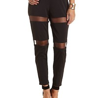 Organza Cut-Out Tapered Trousers by Charlotte Russe - Black