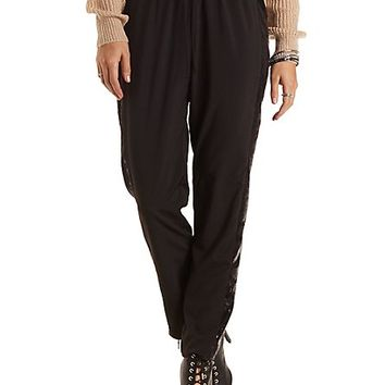 Sequin Drawstring Trousers by Charlotte Russe - Black