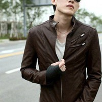 Stand Collar Faux Leather New Style Coffee Men OutWear M/L/XL/XXL@dat0105c