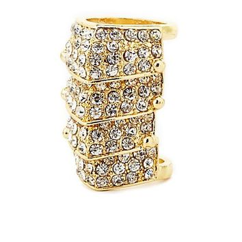 Four-Panel Rhinestone Armor Ring by Charlotte Russe - Gold
