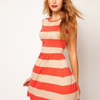 ASOS Skater Dress In Wide Stripe at asos.com