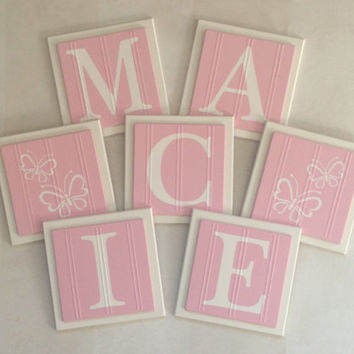 Pink Baby Name Blocks, Wall Letters Room Decor, 6x6 Personalized Wooden Plaques for MACIE with Butterfly Painted Pink Custom Nursery Gifts