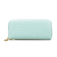 Mint Textured Floral Wristlet Wallet