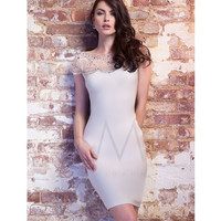 Fall 2014 LM by Mignon Antique Ivory Jeweled Cap Sleeve Cocktail Dress