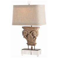 Avignon Hand Carvd Solid Wood and Iron Acrylic Lamp