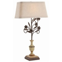 LaRochelle Painted Solid Wood and Rusted Iron Lamp