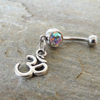 Ohm Om Belly Button Ring Crystal Navel Jewelry