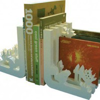 Naked Decor Squirrel Bookends in White - squirrel-bookends
