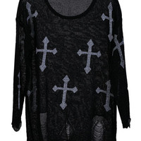 Cross Print Distressed Jumper [NCSWD0106] - $35.90 :