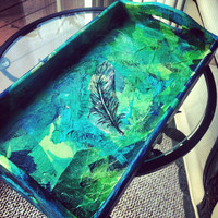 Feather gypsy hippie blue and green tissue tray