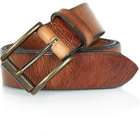 River Island MensBrown cracked leather belt
