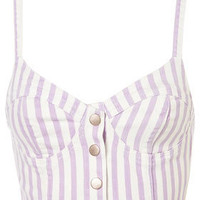 MOTO Lilac Stripe Denim Bralet - Jersey Tops  - Apparel