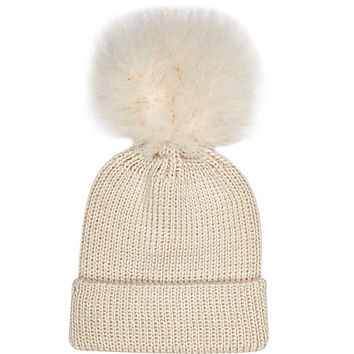 River Island Girls cream fluffy pom beanie hat