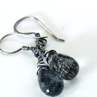 Black Rutilated Quartz Earrings,Oxidized Sterling Silver Wire Wrapped