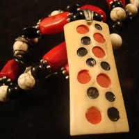 tribal domino necklace - bone, red coral, black jasper, howlite - handmade gemstone jewelry - OOAK