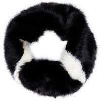 River Island Womens Black and white faux fur snood
