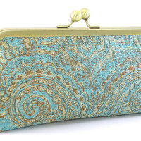Teal and Gold Clutch Handbag by Bagboy