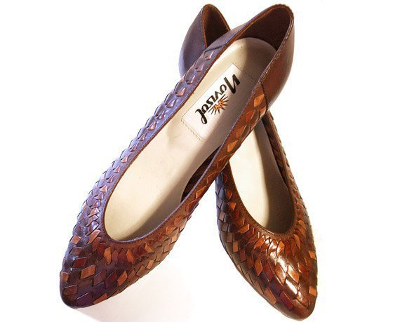 Vintage 80s Brown Leather Shoes Woven Pumps Heels New Unworn size 6