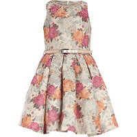 River Island Girls cream floral tapestry prom dress