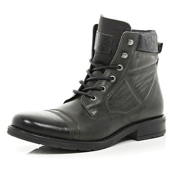 River Island MensGrey contrast panel lace up military boots