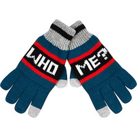 River Island Boys green who me gloves