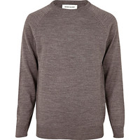 River Island MensLight brown elbow patch sweater