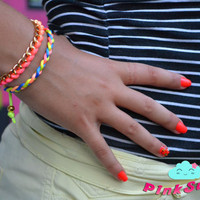 Gold Chain and Neon Colorful Satin Cord Braided Bracelets - Set of 2 - Handmade by PinkSugArt