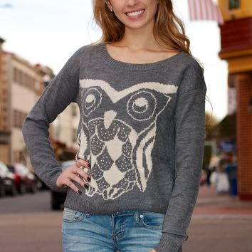 Open Back Owl Sweater