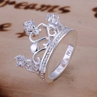 Europe Style 925 Silver Plated Crown With Rhinestone Fation Finger Ring 8 Size