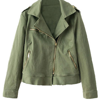 Army Green Lapel Long Sleeve Biker Jacket - Choies.com