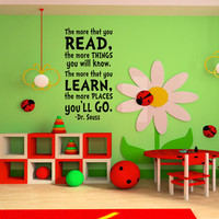 Childrens Wall Art Dr. Seuss Childrens Wall Decal Vinyl Sticker Art baby or Children&#x27;s Nursery boy or girls kids room Decor Quote