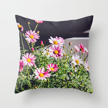 Pink Daisies Throw Pillow by Pati Designs