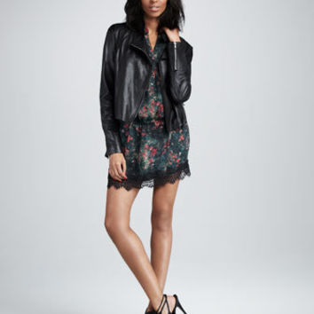Leather Motorcycle Jacket & Tiny Dancer Drop-Waist Dress