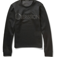 Calvin Klein Collection - Obsession Leather-Appliquéd Tech-Jersey Sweatshirt | MR PORTER