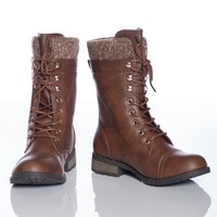 Warming Trend MANGO-31 Sweater Cuff Lace Up Combat Boots - Brown