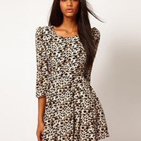Glamorous Snow Leopard Print Skater Dress at asos.com