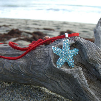 Starfish Crystal Pendant Sued Necklace-AQUA & RED-Stocking Stuffers, Gifts under 15, Gifts under 20, Starfish Necklace, Mermaids, Suede