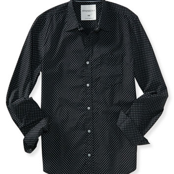 Aeropostale Long Sleeve Dot Print Woven Shirt - Black, X-Small