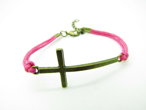 Adjustable Cross sideways bracelet ,retro bronze cross pendant  With Pink Rope Cuff Bracelet Vintage bracelet 991S